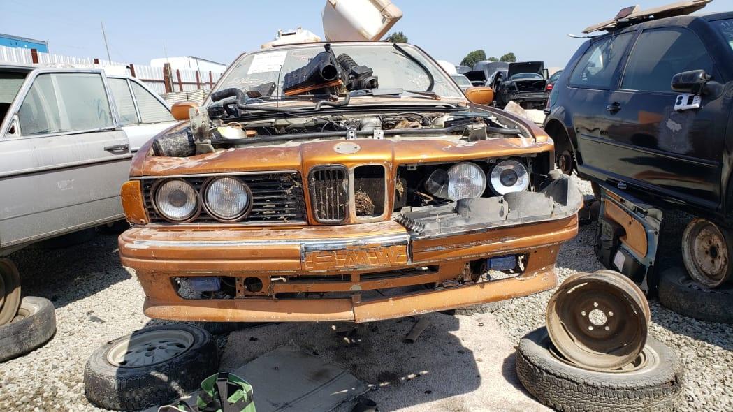 18 - 1989 BMW 635CSi in California wrecking yard - photo by Murilee Martin