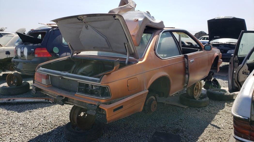 24 - 1989 BMW 635CSi in California wrecking yard - photo by Murilee Martin