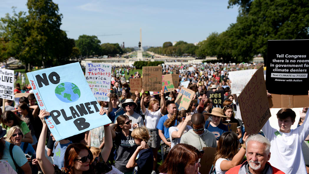 Protesters rally near the U.S. Capitol as part of the D.C. Climate Strike March to demand action on climate change in Washington