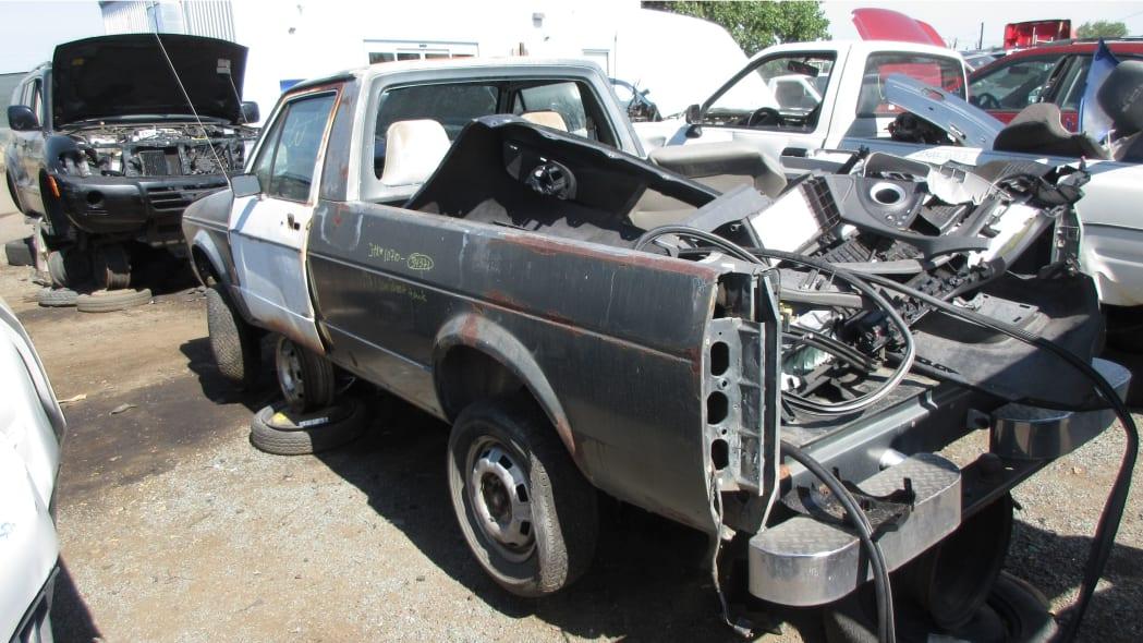 00 - 1981 Volkswagen Rabbit pickup in Colorado wrecking yard - photo by Murilee Martin