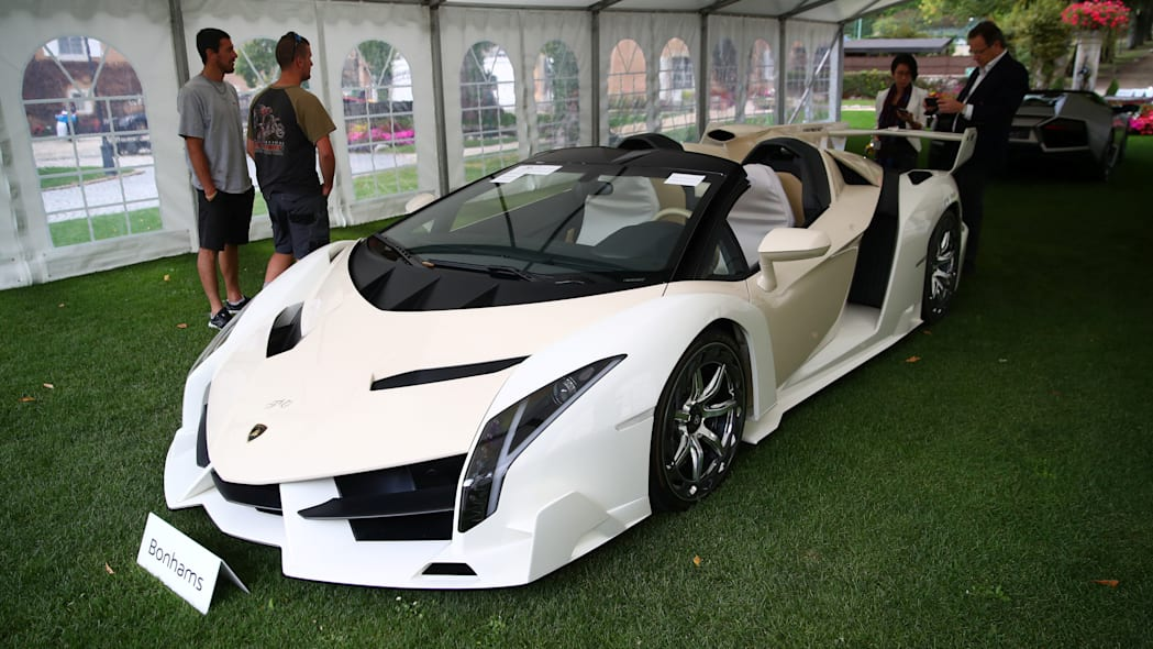 A Lamborghini Veneno Roadster is pictured during an auction preview of Bonhams at the Bonmont Golf & Country Club in Cheserex near Geneva