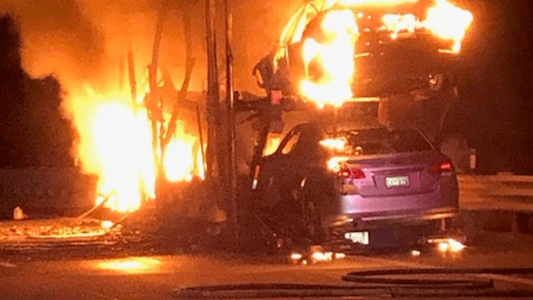 burning Teslas NV trailer
