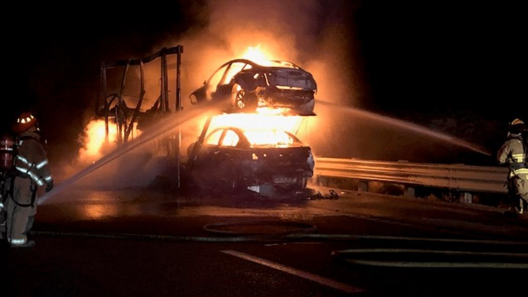 Nevada car trailer fire