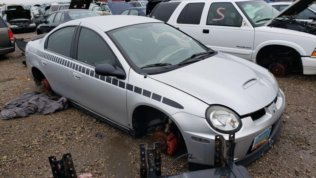 21 - 2005 Dodge Neon in North Dakota wrecking yard - photograph by Murilee Martin
