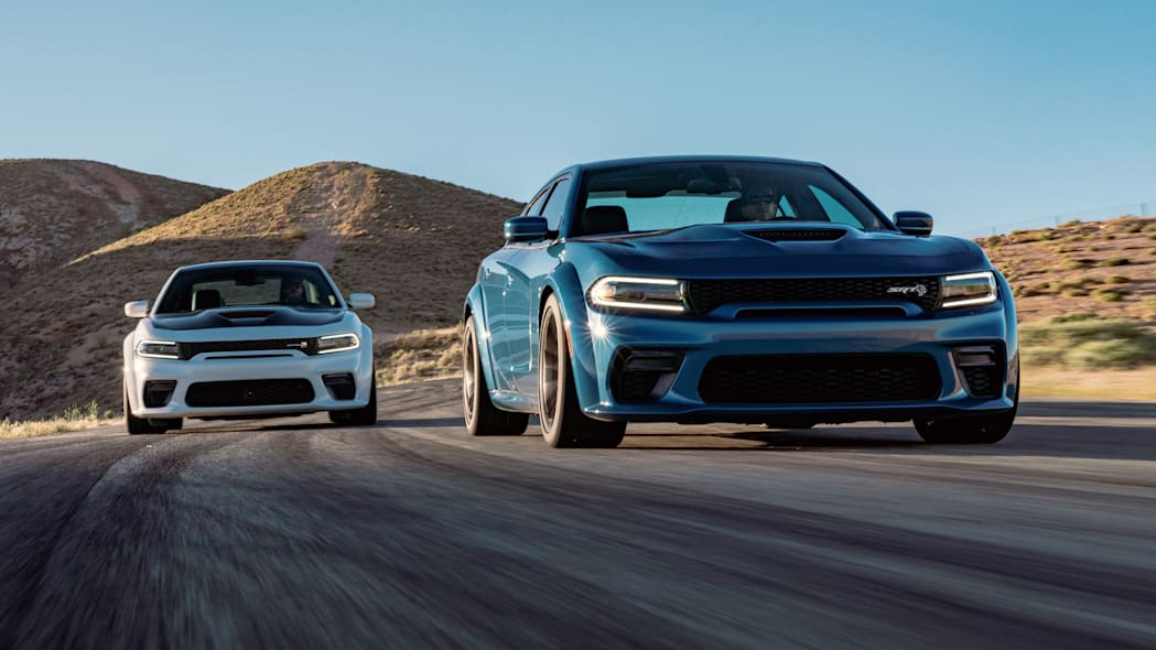 2020 Dodge Charger Scat Pack Widebody (Left) and  2020 Dodge Cha