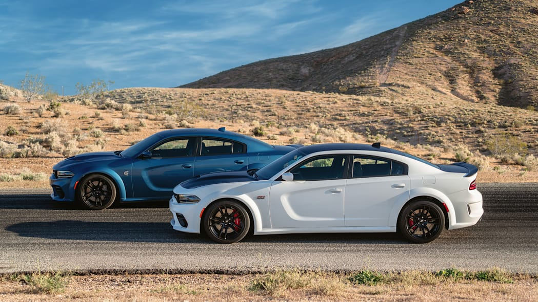 2020 Dodge Charger Scat Pack Widebody (Front) and 2020 Dodge Cha