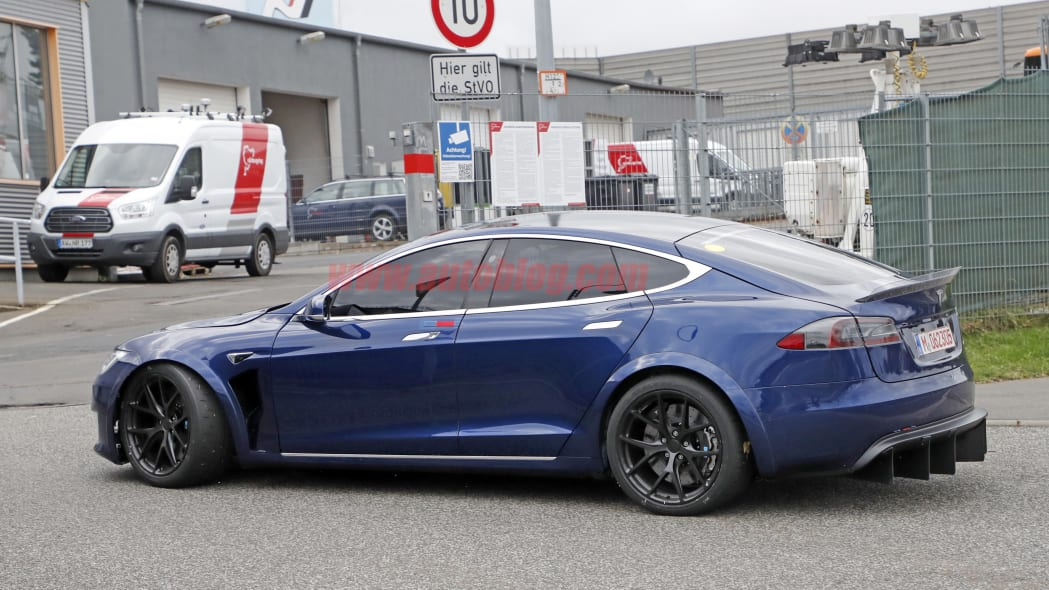 Look at the huge diffuser on this prototype Tesla Model S at the Nurburgring