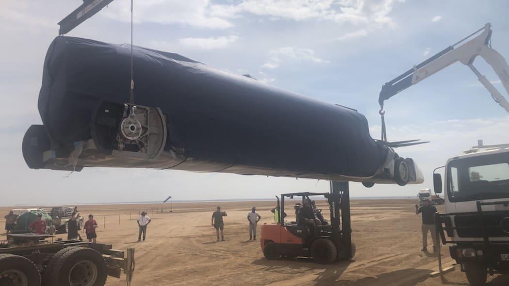 Bloodhound LSR car arrives in the desert