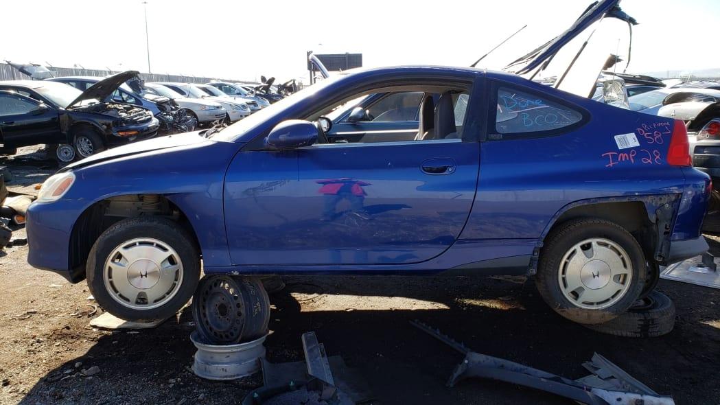 35 - 2001 Honda Insight in Colorado junkyard - photo by Murilee Martin