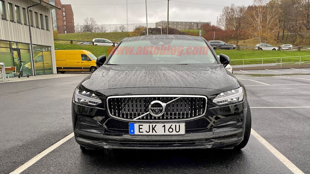Volvo S90 sedan spied out in the open sporting a light refresh