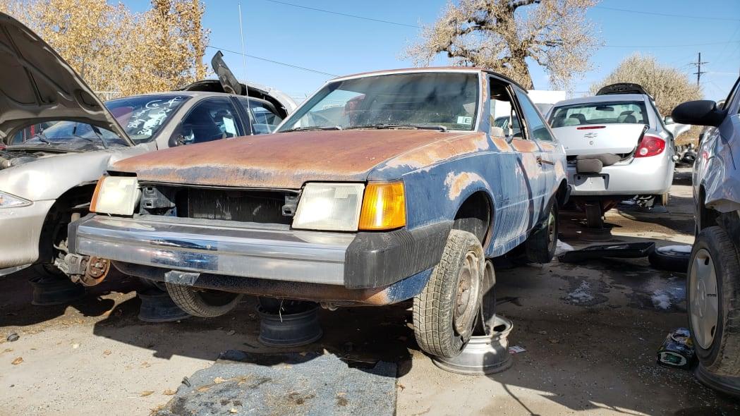 50 - 1986 Ford Escort Pony in Colorado junkyard - photo by Murilee Martin