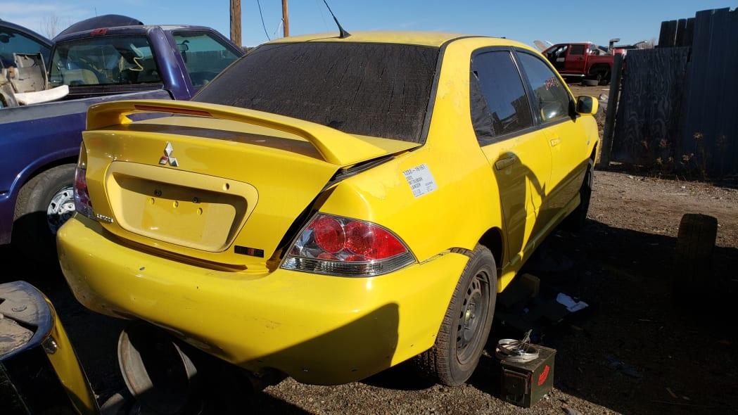 35 - 2005 Mitsubishi Lancer Ralliart in Colorado junkyard - photo by Murilee Martin