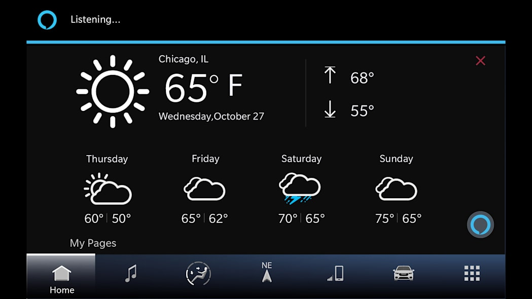 All new Uconnect 5 weather screen