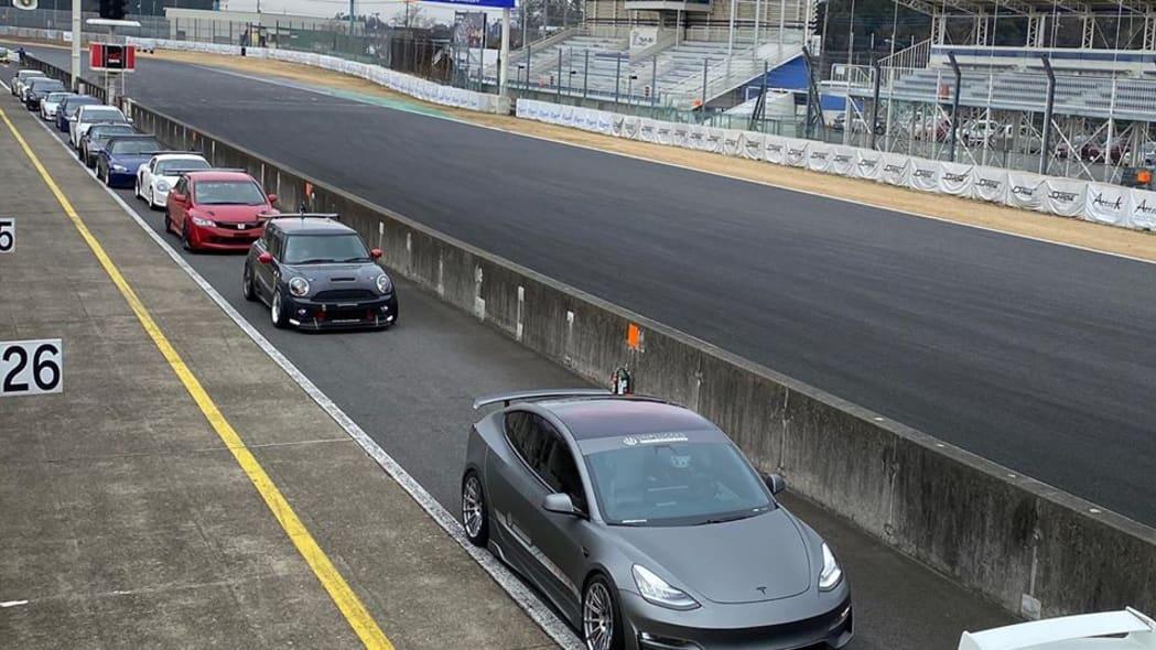 Tesla Model 3 at Tsukuba