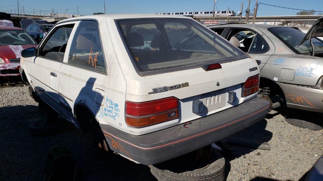 27 - 1986 Mazda 323 in California junkyard - photo by Murilee Martin