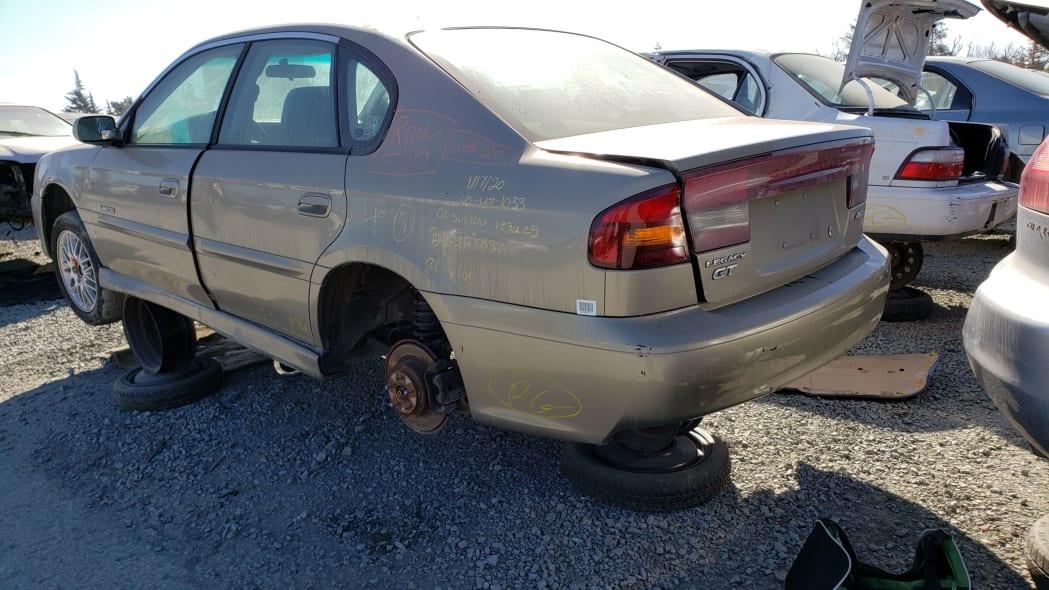 16 - 2000 Subaru Legacy GT in California junkyard - photo by Murilee Martin