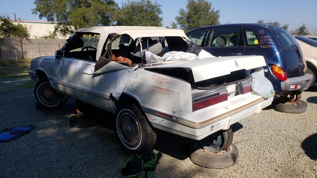 27 - 1982 Chrysler LeBaron convertible in California junkyard - photo by Murilee Martin