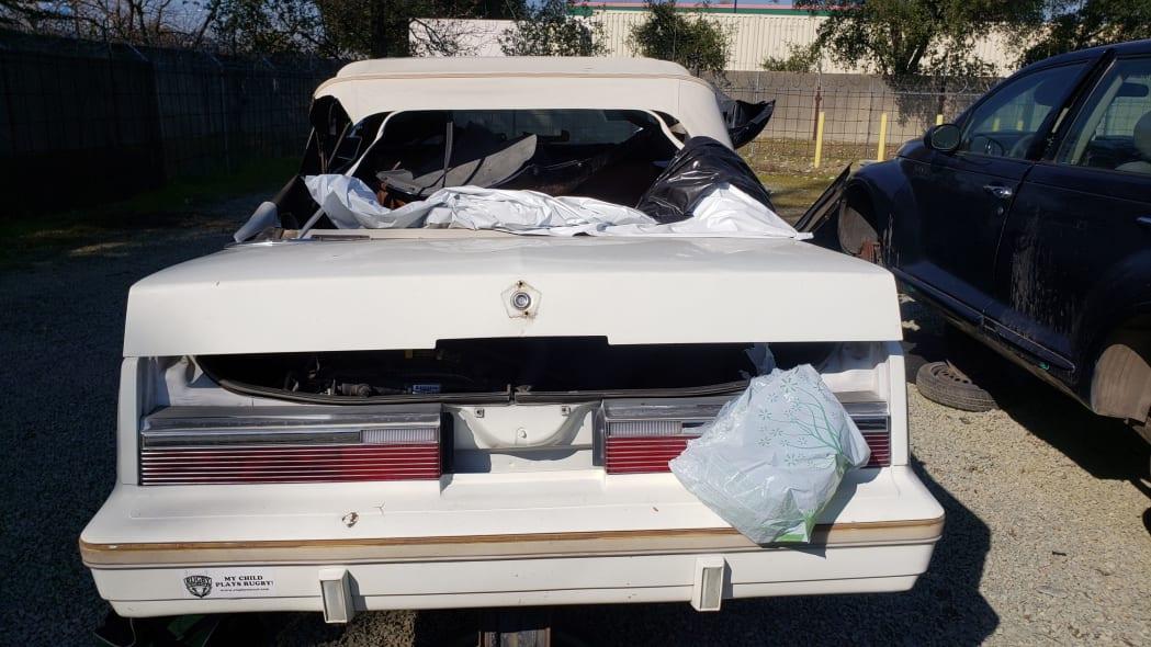 31 - 1982 Chrysler LeBaron convertible in California junkyard - photo by Murilee Martin