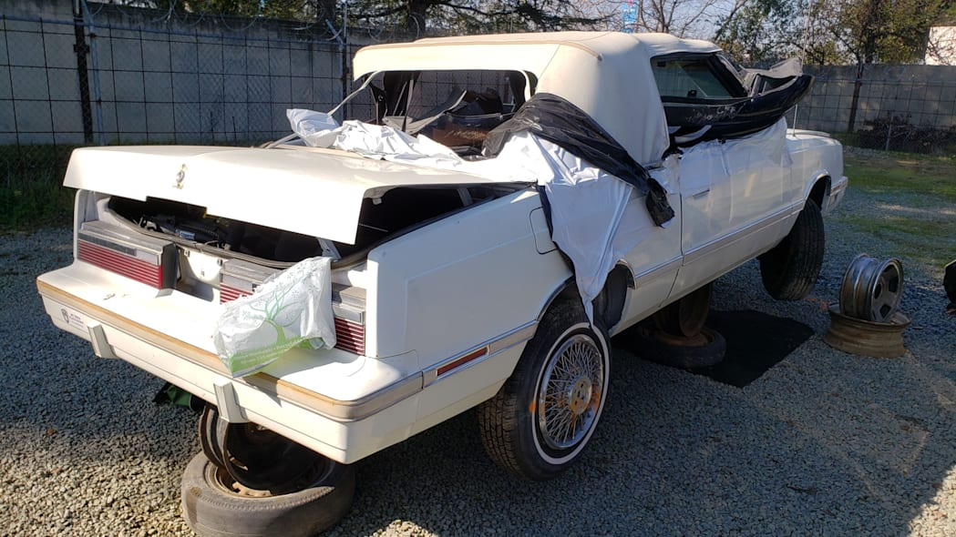 35 - 1982 Chrysler LeBaron convertible in California junkyard - photo by Murilee Martin