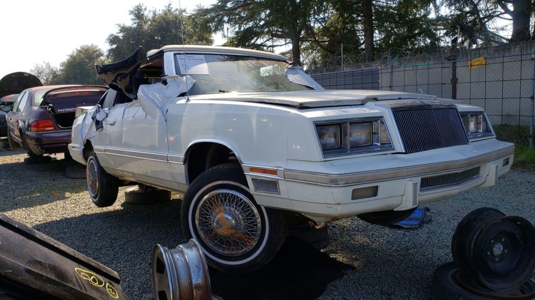 40 - 1982 Chrysler LeBaron convertible in California junkyard - photo by Murilee Martin