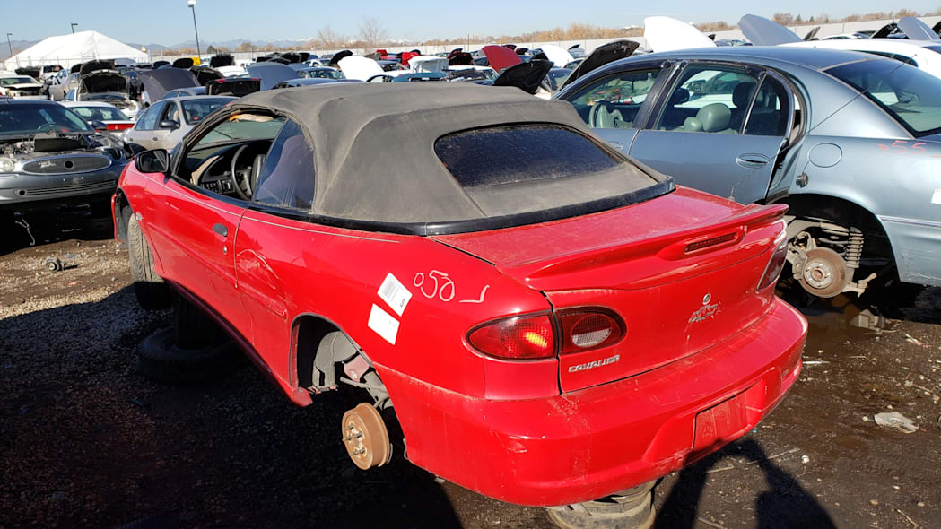 37 - 2000 Chevrolet Cavalier Z24 convertible in Colorado junkyard - photo by Murilee Martin