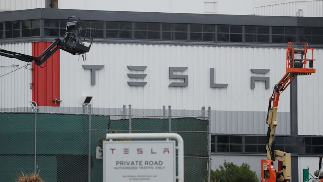 The view of Tesla Inc's U.S. vehicle factory in Freemont, California