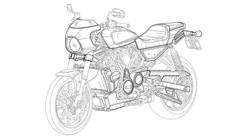Harley-Davidson cafe racer patent drawing