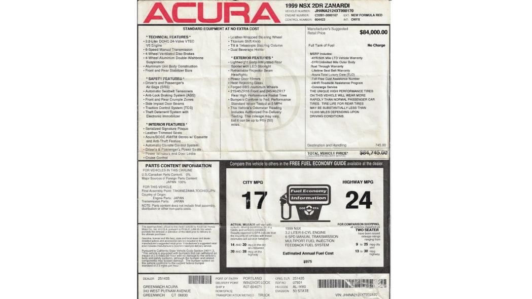 1999 Acura NSX Zanardi Edition-sticker.-Zanardi-Filiberto