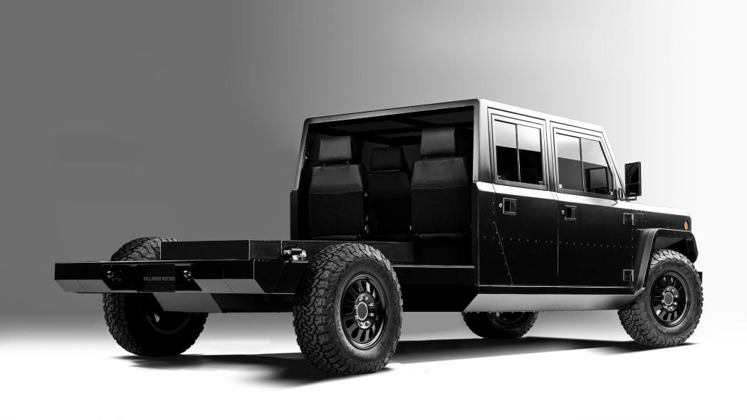 Bollinger Motors B2 Chassis Cab 4 Door Open 3/4 rear