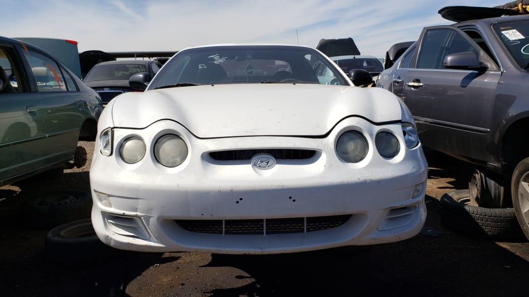 28 - 2000 Hyundai Tiburon in Arizona Junkyard - photo by Murilee Martin