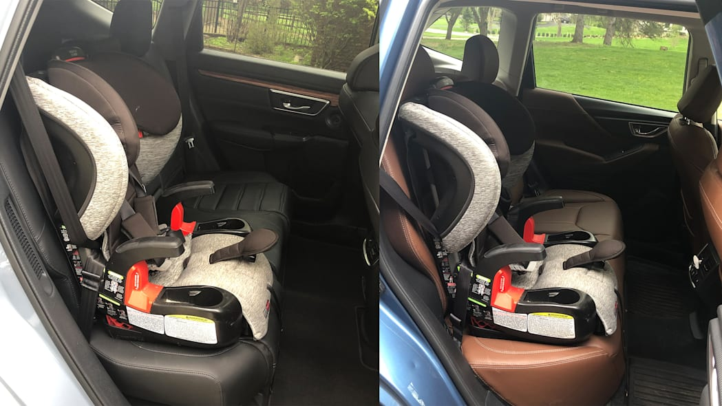 Both cars with car seat installed