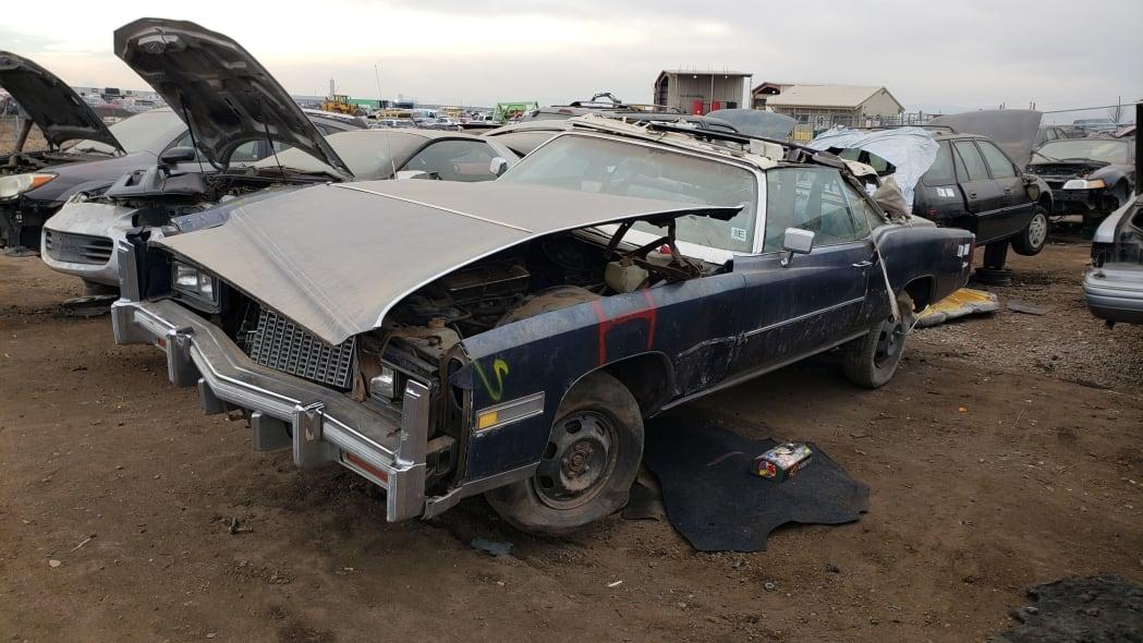 17 - 1976 Cadillac Eldorado Convertible in Colorado Junkyard - photo by Murilee Martin