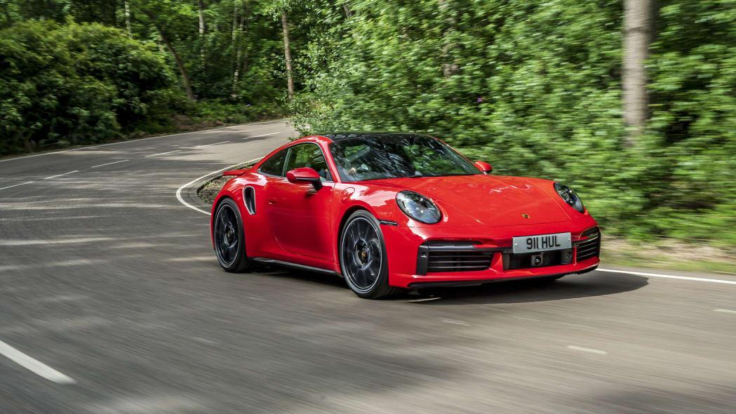 2020 Porsche 911 Turbo S action front 34 2