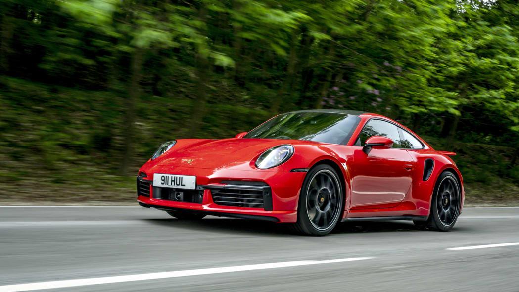 2020 Porsche 911 Turbo S action front 34