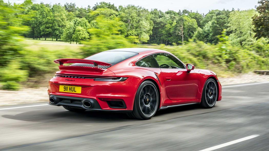 2020 Porsche 911 Turbo S action rear three quarter
