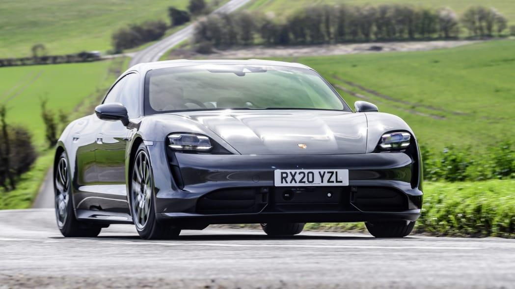 2020 Porsche Taycan Turbo action front three quarter