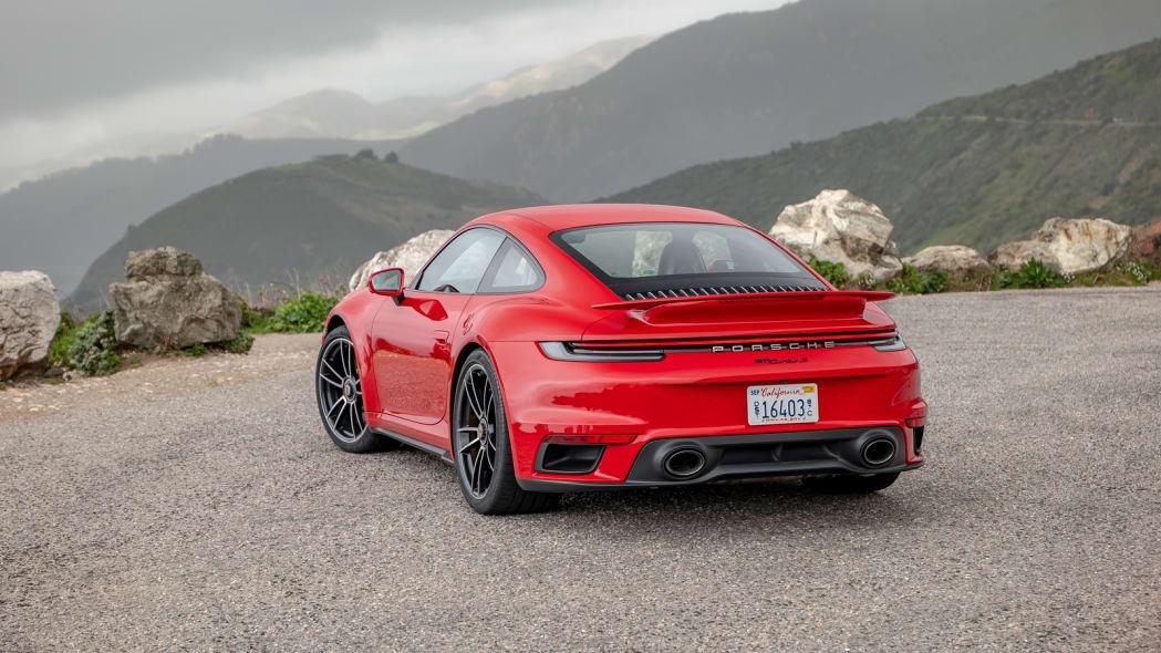 2020 Porsche 911 Turbo S rear three quarter