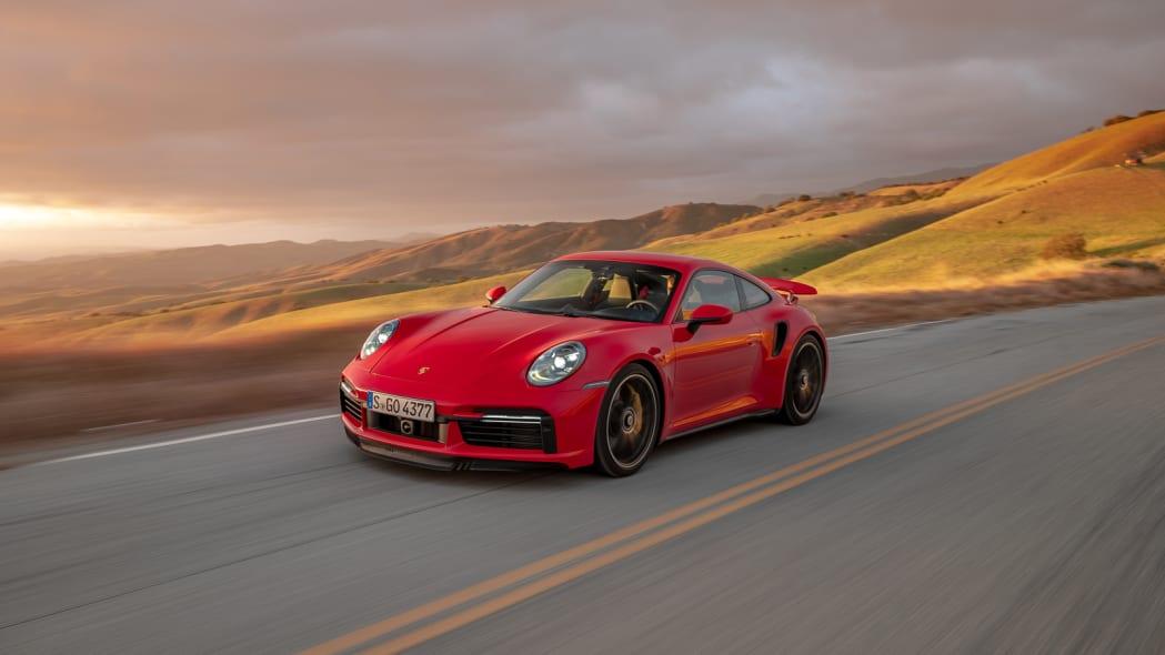2020 Porsche 911 Turbo S action front three quarter