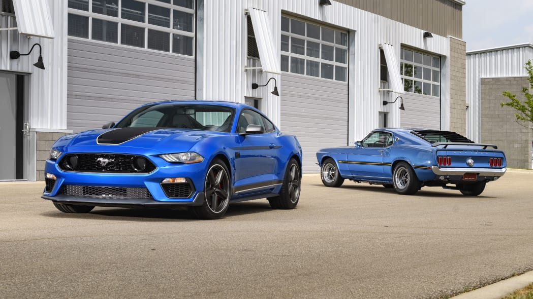 2021 Ford Mustang Mach 1 with vintage Mach 1s