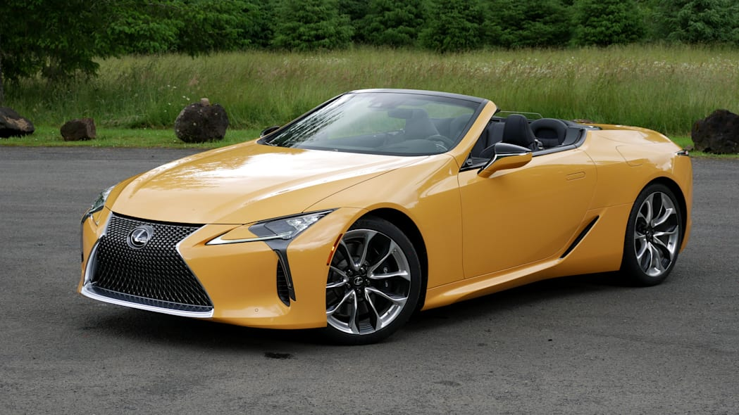 2021 Lexus LC 500 Convertible roof down front three quarter high