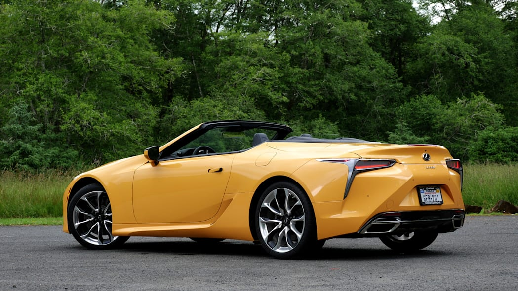 2021 Lexus LC 500 Convertible roof down rear three quarter low