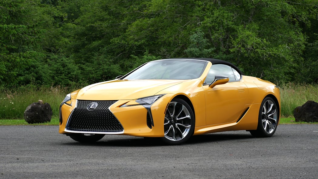 2021 Lexus LC 500 Convertible roof up front 34