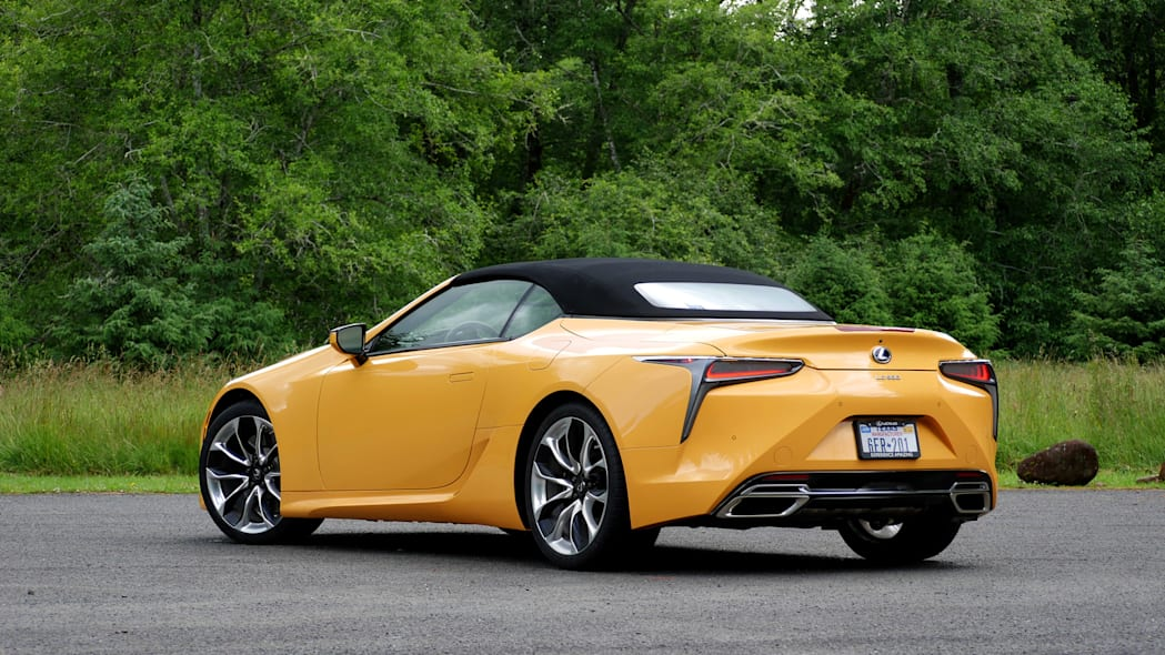 2021 Lexus LC 500 Convertible roof up rear three quarter low