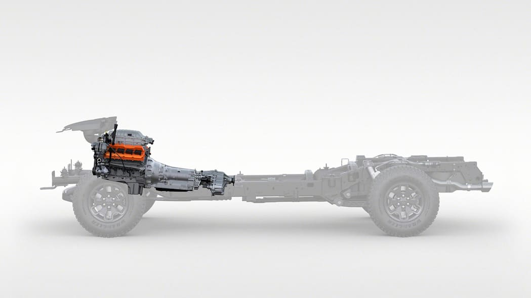 2021 Ram 1500 TRX chassis with engine and transmission