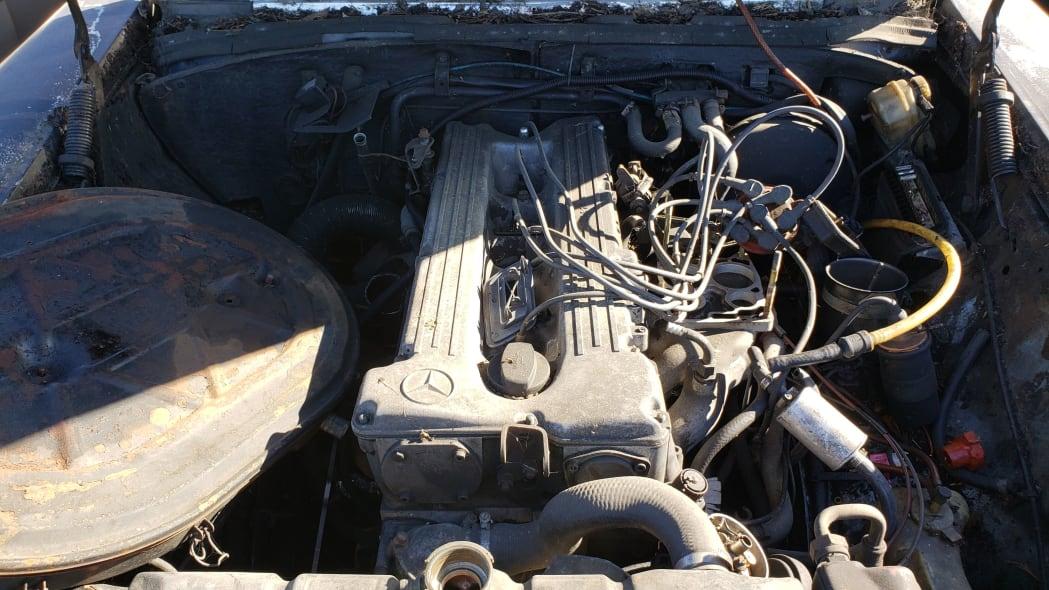 16 - 1973 Mercedes-Benz W114 in California junkyard - photo by Murilee Martin