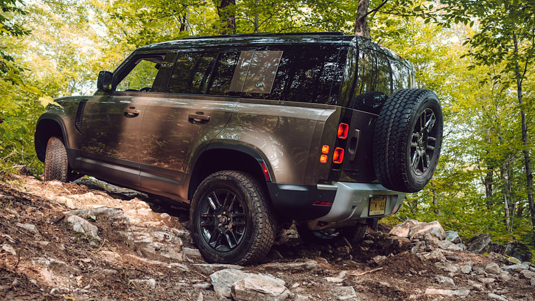 2020 Land Rover Defender three quarter rear off road