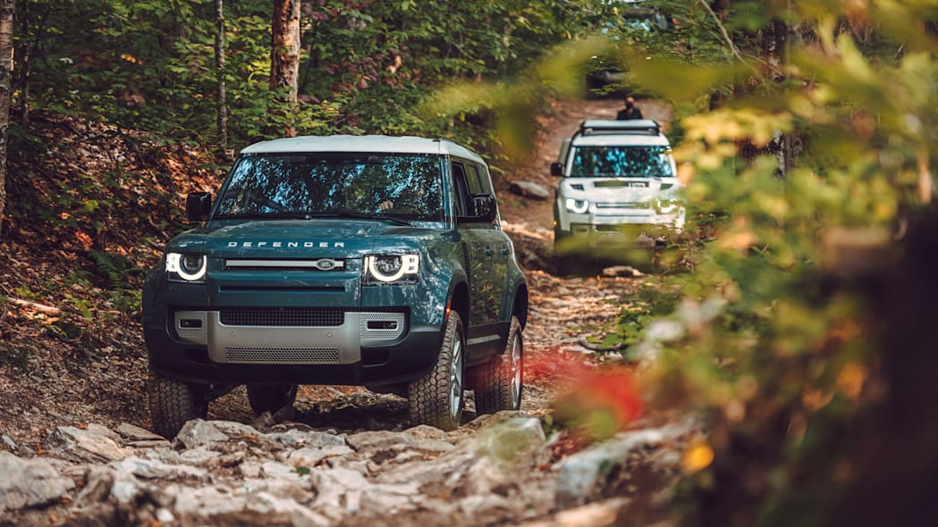 2020 Land Rover Defender blue group off road front