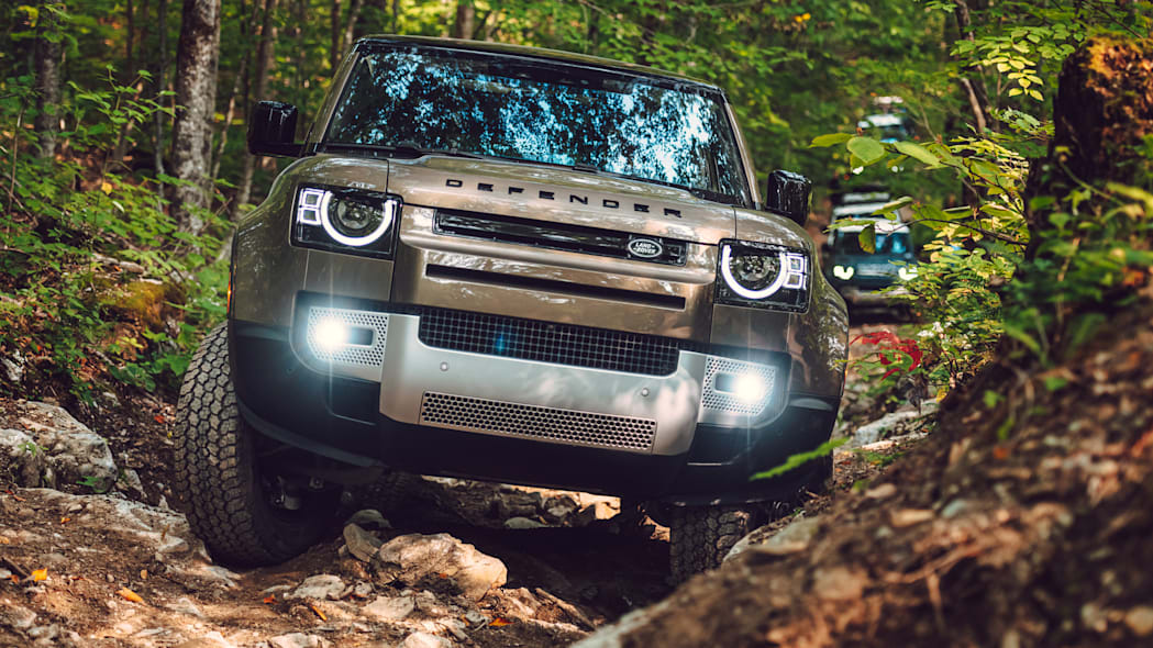 2020 Land Rover Defender brown front offroad
