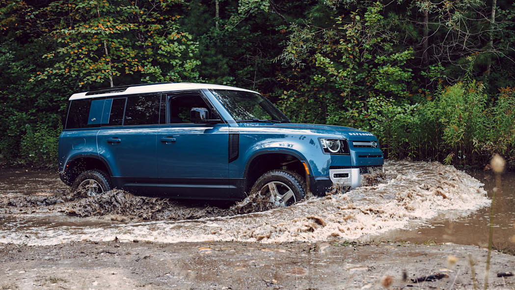 2020 Land Rover Defender blue in water
