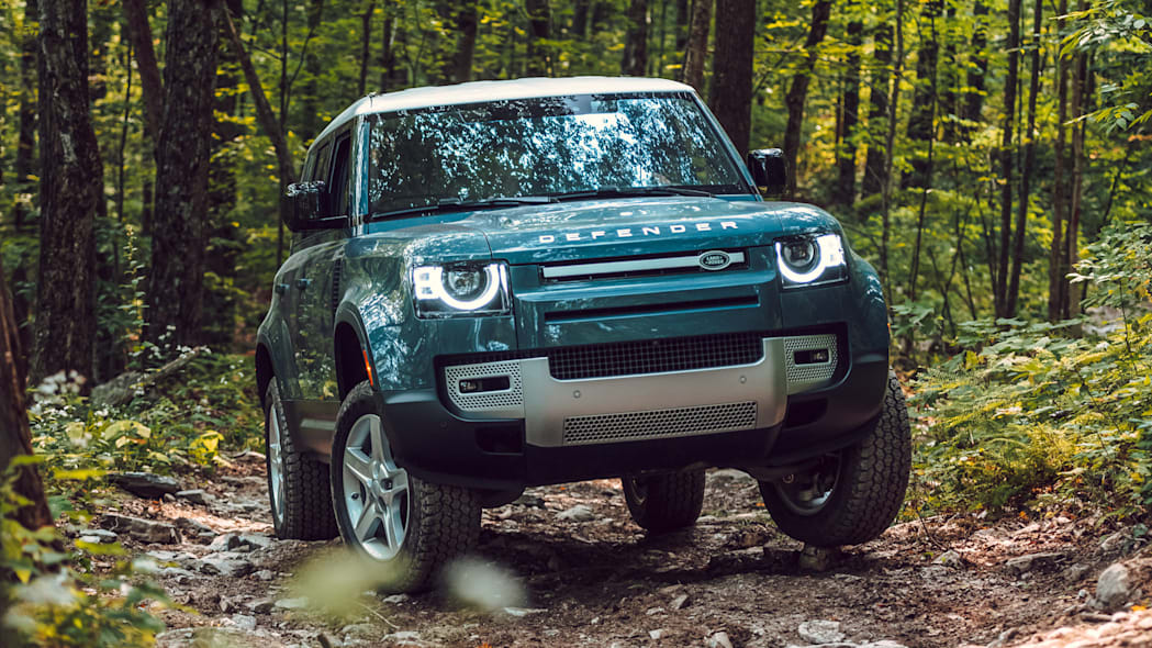 2020 Land Rover Defender front blue three wheelin